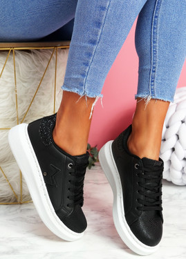 Ribba Black Snake Glitter Trainers