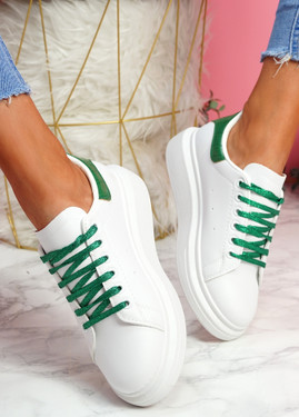 Hezzo White Green Croc Pattern Trainers