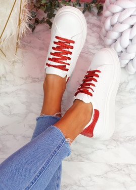 Hezzo White Red Croc Pattern Trainers