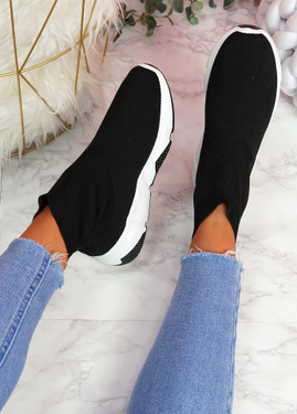 Bodde Black White Black Sock Sneakers