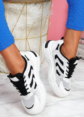 Huve White Black Chunky Sneakers