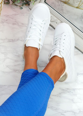 Kety White Gold Lace Up Trainers