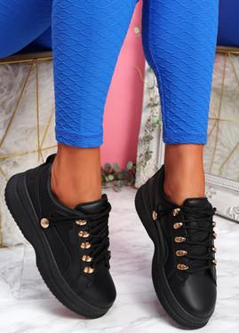 Huto Black Platform Sneakers