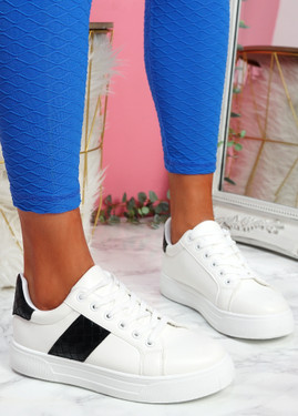 Yuro White Black Croc Pattern Trainers