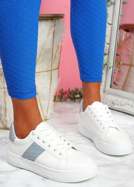 Yuro White Blue Croc Pattern Trainers