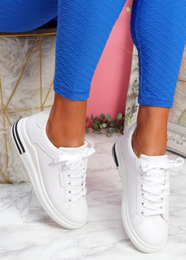 Kaja White Lace Up Trainers