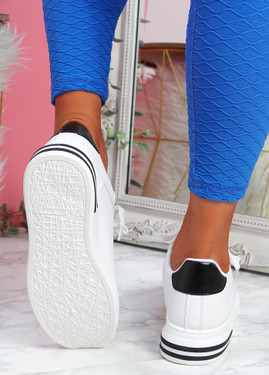 Nymo White Black Platform Trainers