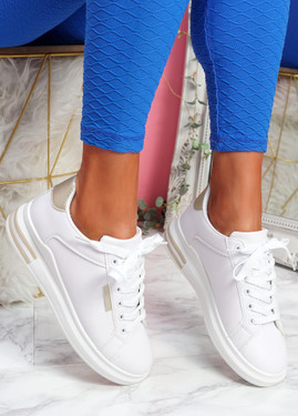 Nymo White Gold Platform Trainers
