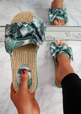 Sally Green Bow Flat Sandals