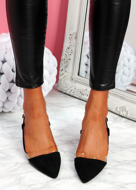 Koza Black Low Block Heel Pumps