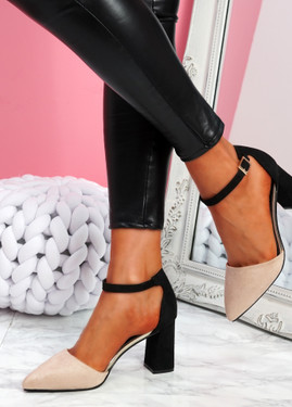 Amma Apricot High Block Heel Pumps