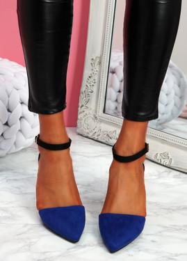 Amma Blue High Block Heel Pumps