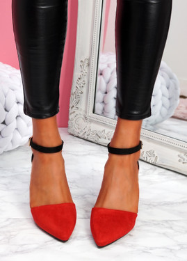 Amma Red High Block Heel Pumps