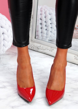 Lonka Red Shiny Block Heel Court Pumps