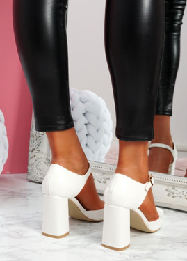 Mirro White Mary Jane Block Heel Pumps
