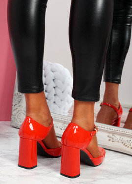 Mirro Red Mary Jane Block Heel Pumps