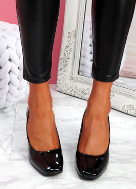 Nivy Black Block Heel Court Pumps