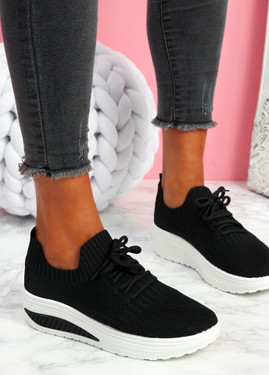 Pinna Black Knit Trainers