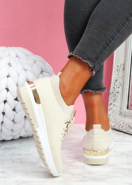 Scopo Beige Knit Lace Sneakers
