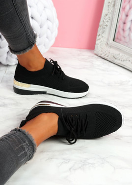 Scopo Black Knit Lace Sneakers