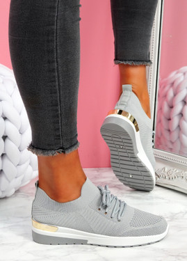 Scopo Grey Knit Lace Sneakers