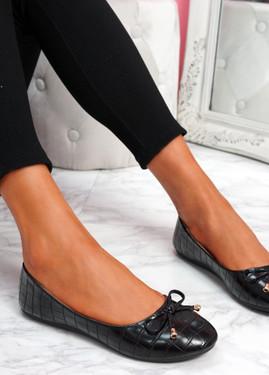 Lidda Black Croc Ballerinas