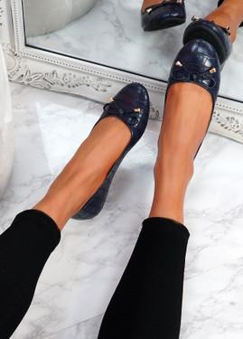 Lidda Blue Croc Ballerinas