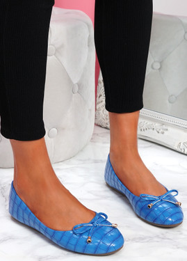 Lidda Light Blue Croc Ballerinas