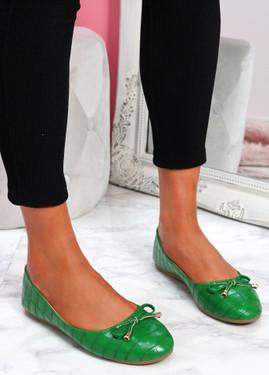 Lidda Green Croc Ballerinas