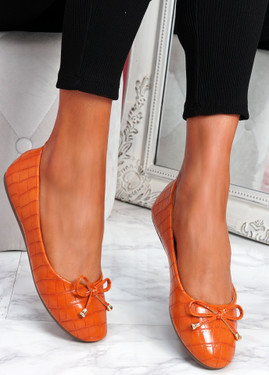 Lidda Orange Croc Ballerinas