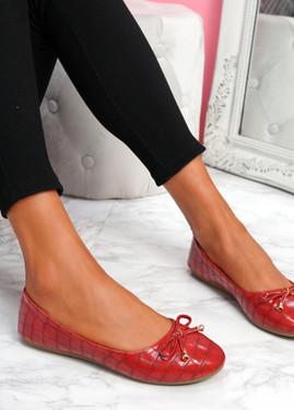 Lidda Red Croc Ballerinas