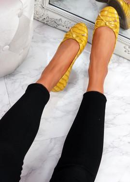 Lidda Yellow Croc Ballerinas