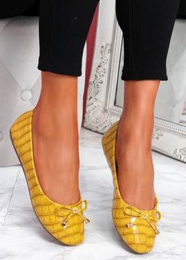 Lidda Yellow Croc Ballerinas