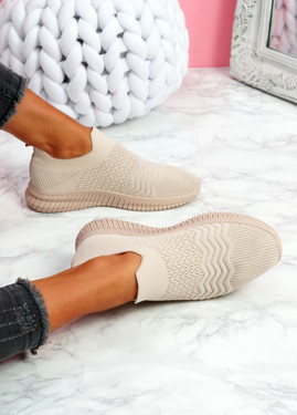 Mabba Pink Knit Running Trainers