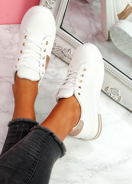 Habby White Champagne Glitter Trainers
