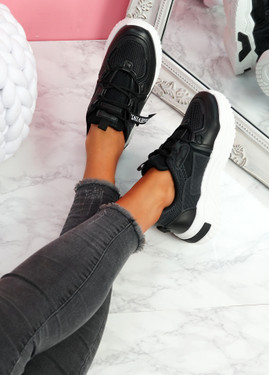 Lovy Black Chunky Trainers