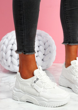 Lovy White Chunky Trainers