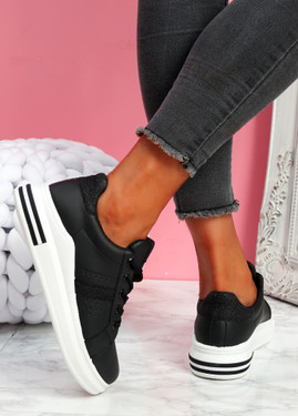 Juwe All Black Platform Glitter Trainers