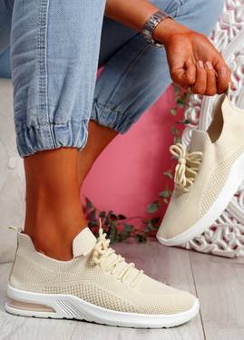 Joby Beige Lace Knit Trainers
