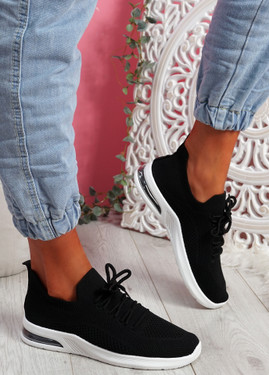Joby Black Lace Knit Trainers