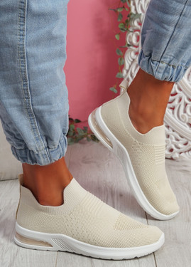 Penna Beige Knit Slip On Trainers