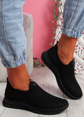 Stonna Black Knit Slip On Sneakers