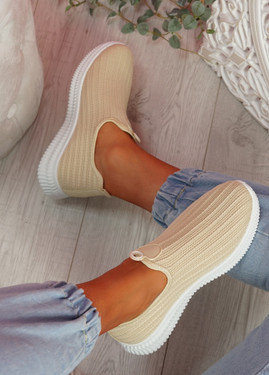Stonna Beige Knit Slip On Sneakers