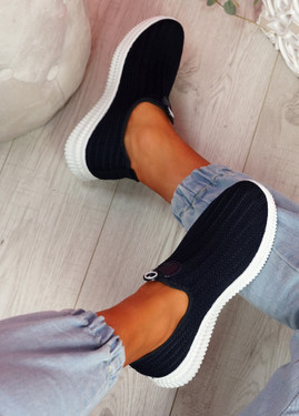 Stonna Navy Knit Slip On Sneakers