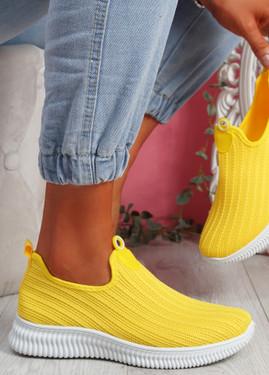 Stonna Yellow Knit Slip On Sneakers