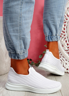 Stonna White Knit Slip On Sneakers