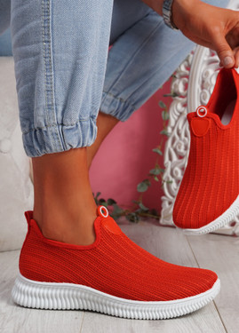 Stonna Red Knit Slip On Sneakers