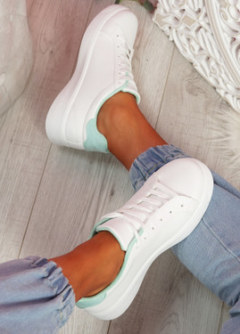 Bumy White Green Trainers