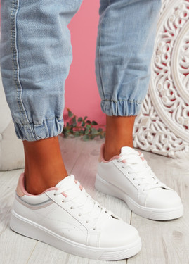 Bumy White Pink Trainers