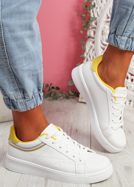 Bumy White Yellow Trainers